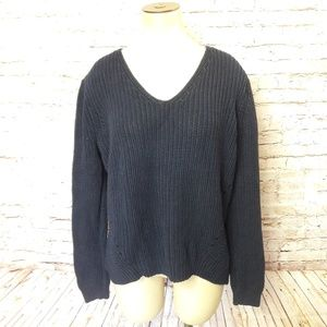 LOFT Navy Blue Chunky Cable Knit Sweater Hi-Lo